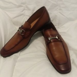 Magnanni Mens Brown Leather Dress Loafers, Size 13